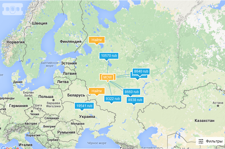 Карта цен на авиабилетов из Москвы
